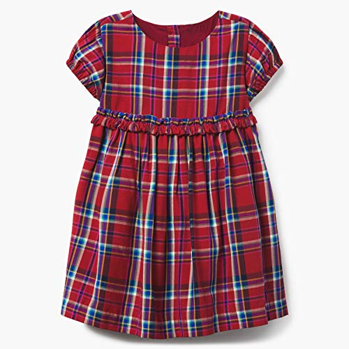 Gymboree Baby Girls Short Sleeve Casual Woven Dress, Plaid red, 2T