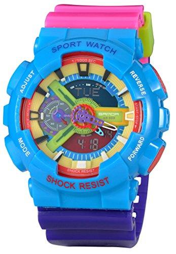 Kid's Dual Dial Analog Digital Waterproof Children Students Watch Chronograph Sport Wrist Watch Rose