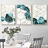 Impresión en lienzo Nórdico Geométrico Abstracto Azul Líneas de Pintura de Pared Arte de Pared Para Sala Decoración Impresiones Y Pósters Pintura Sin Encuadre - 40x60cm