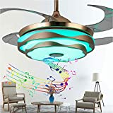 WEM Retractable Blades Ceiling Fan with Light Ceiling Lamp, Dimmable with Remote Bluetooth Speaker Music Foldable Chandelier, for Bedroom Living Room Study Kitchen Fan Lights