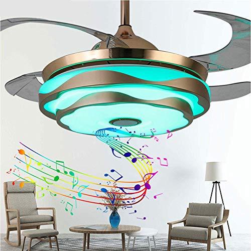 PLLP Ventilador de techo de aspas retráctiles con lámpara de techo, regulable con altavoz Bluetooth remoto, candelabro plegable de música, para dormitorio, sala de estar, estudio, cocina, ventilador,