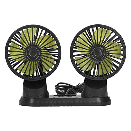 Ventilador de aire para automóvil, ventilador de vehículo de doble cabezal, 5 aspas, ventilador oscilante de aire portátil giratorio de 3 velocidades con fragancia