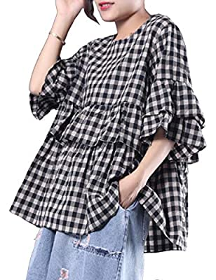 BUYKUD Women's Cotton Linen T Shirt Plaid Short Sleeve Butterfly Sleeves Casual Blouse Tops