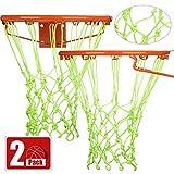 Syhood 2 Paquetes Redes de Canasta Red de Aro de Repuesto para Casi Todo Tiempo, Ajuste Aro de Baloncesto Estándar Interior o Exterior, 12 Bucle (Verde)