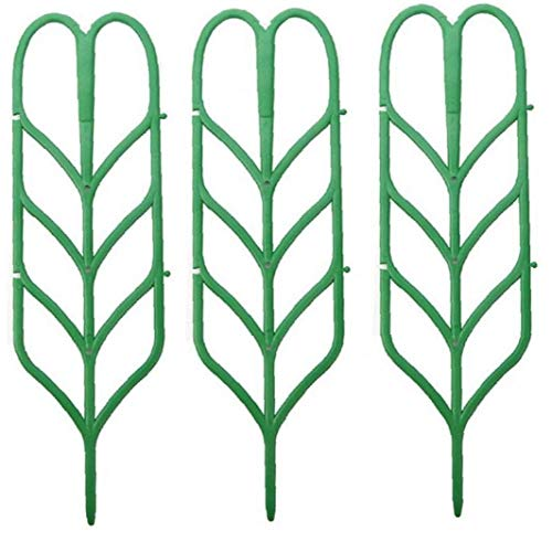 BYFRI Forma 3pcs Mini Bricolaje Hoja Jardín Enrejado De Celosía De Flora Apoya Macetas para Plantas Trepadoras En Maceta Vides De La Hiedra Pepinos