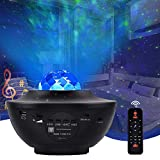 Lámpara proyector de estrellas, luz nocturna para niños con 10 modos, LED, lámpara musical romántica, cielo estrellado con altavoz Bluetooth, mando a distancia, temporizador, regalo para adultos