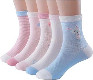 Calcetines de algodón multicolor, sin costuras, antideslizantes, finos, transpirables, para niños, niños pequeños, niñas, niñas, 5 pares, conejo