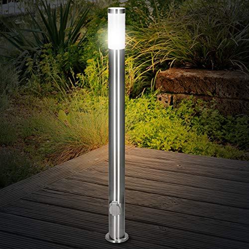 ECD Germany Außenlampe 111 cm mit 2 Steckdosen - Außen Gartenlampe mit E27-Fassung - Edelstahl - IP44 - Außenleuchte Wegeleuchte Standleuchte Stehleuchte Pollerleuchte Gartensteckdose Außensteckdose