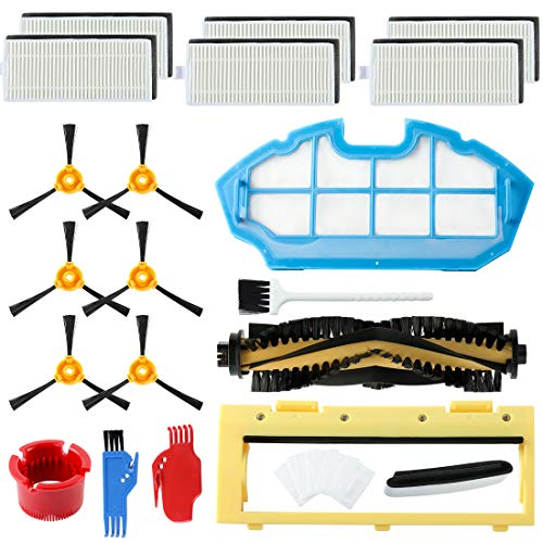 Replacement Parts Accessories for Ecovacs DEEBOT N79 N79S DN622 500 N79w N79se Robotic Vacuum,1 Main Brush+6 Filters+6 Side Brushes+1 Primary Filter+1 Rolling Brush Guard+Magnetic Boundary Marker.