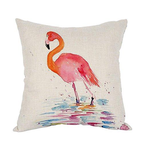Moslion Flamingo Pillow,Home Decorative Throw Pillow Cover Watercolor Bird Flamingo Cotton Linen Cushion for Couch/Sofa/Bedroom/Livingroom/Kitchen/Car 18 x 18 inch Square Pillow case