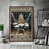 empire - poster vintage con gatto con scritta drum n bass cat, poster vintage per amanti dei gatti, con scritta love cat, 30,5 x 40,6 cm