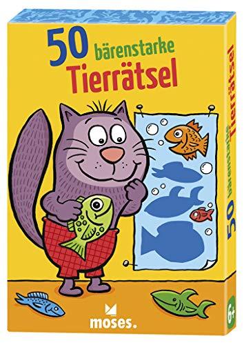 Moses 30242 50 bärenstarke Tierrätsel | Kinderbeschäftigung | Kartenset, Mehrfarbig