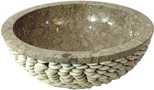 Guru-Shop Marmeren Bovenwastafel, Grijze Wasbak met Riviersteen, Crèmewit, 15x40x40 cm, Wastafels, Wastafels Badkuipen