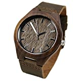 WIOR Walnut Wood Watches for Men Brown Leather Strap Wristwatches Genuine...