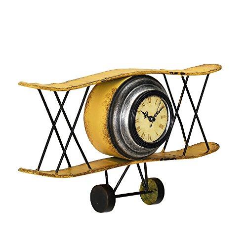 [en.casa] Dekorative Wanduhr Doppeldecker Flugzeug mit analoger Anzeige - 38 x 7 x 21,5 cm -...