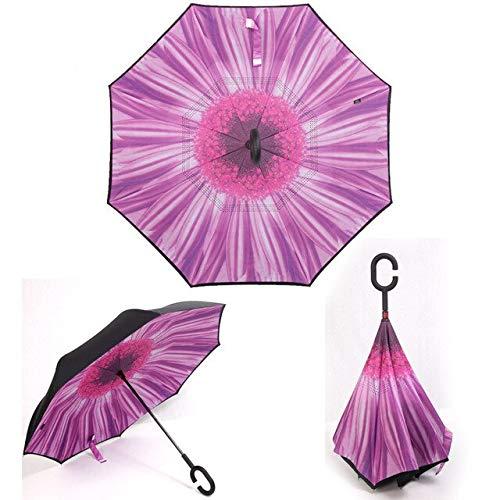ZGMMM UV Inverted Parapluie arrière Pliant Double Couche Auto Stand Inside Out Sunny Rain Blanc
