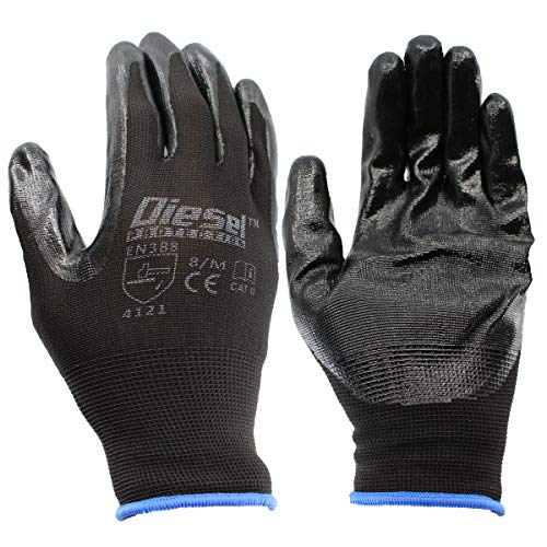 Diesel Protection Pro-Tekk Nitrile Grip Coated Work Gloves - For Gardening, Landscaping, Construction, Mechanic, General Labor - Precision, Protection, Durability (12 Pairs of Gloves, Size Medium)