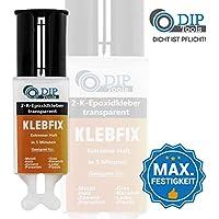 DIP-Tools KLEBFIX - Pegamento Epoxi de 2 Componentes para Madera, Metal, Vidrio, Plástico y Más en Sólo 5 Minutos - con Prácticas Boquillas Mezcladoras - transparente (1x25ml)