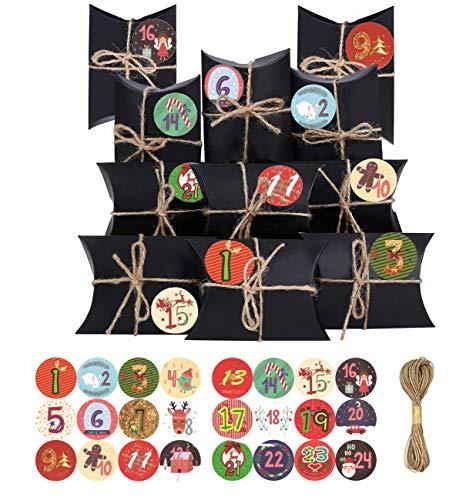 Navidad Cajas de Regalo Pequeñas, Cajas de almohada papel kraft con Adhesivos Digitales de Adviento, Cajas de Regalo Navidad, para DIY Bolsa de Regalo Navidad