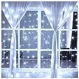 LED Lichtvorhang 3x3m Neu Ollny 304 LED Vorhang Lichterkette mit Fernbedienung & Timer 8 Modi Lichterkettenvorhang für Außen Innen Weihnachten Partydekoration Geburstag Hochzeit Wohnzimmer, Kaltweiß