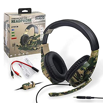 Hankyky Camouflage Stereo Wired Headphone With Microphone,Adjustable Headband Headset Deep Bass Headset for PS4/PS3/for Switch PC Game Gamer Headsets