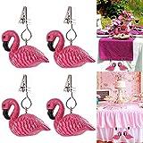 ibvenit 4er Set Tischdeckenbeschwerer für draußen Tischtuchklammern Tischtuchbeschwerer mit Klemmkraft Tischdeckenbeschwerer Vorhang Beschwerer Flamingo Tischdecken Gewichte