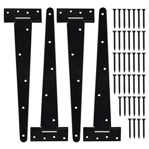 TIMESETL 4Stück T-Scharnier Türscharnier Torscharnier 12Zoll Türband Kreuzgehänge Scharnier aus Schmiedeeisenwaren Stahl, Türangeln Klappscharniere für Werkstor Lagertor Gartentor