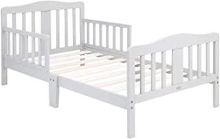 Bonnlo Toddler Bed with Guard Rail for Kids Children, Gray