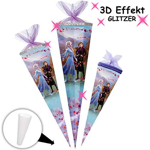 alles-meine.de GmbH mit _ 3D Effekt - Glitzer ! _ Schultüte - Frozen - Disney die Eiskönigin - 85 cm - 12 eckig - Organza Abschluß - Zuckertüte - mit / ohne Kunststoff Spitze - N..