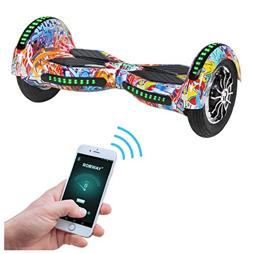 Robway W3 Hoverboard - Das Original - Samsung Marken Akku - Self Balance - 22 Farben - Bluetooth - 2 x 400 Watt Motor - 10 Zoll Luftreifen (Graffiti Orange)