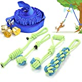 Hanging Bungee Dog Toys of War with Bells,4 Chew Rope Toy & 17.5ft Tug of War Toy Rope. Small to Large Dogs &Pitbull Outdoor Interactive Dogs Tug Toy, Can Be Used for Tug of War Games.
