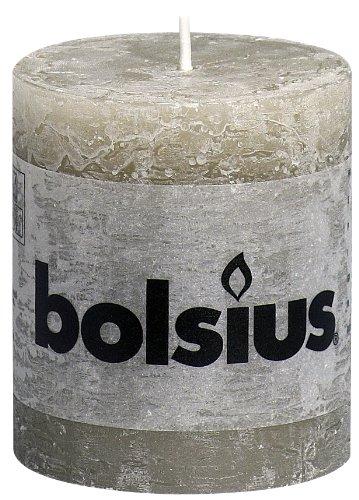 Bolsius Short Textured Pillar Candle in 'Slate Grey'