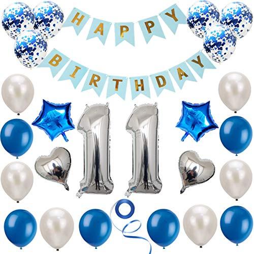 Haosell - Juego de decoración de cumpleaños para niñas, niños, niños, mujeres, hombres, 11 años