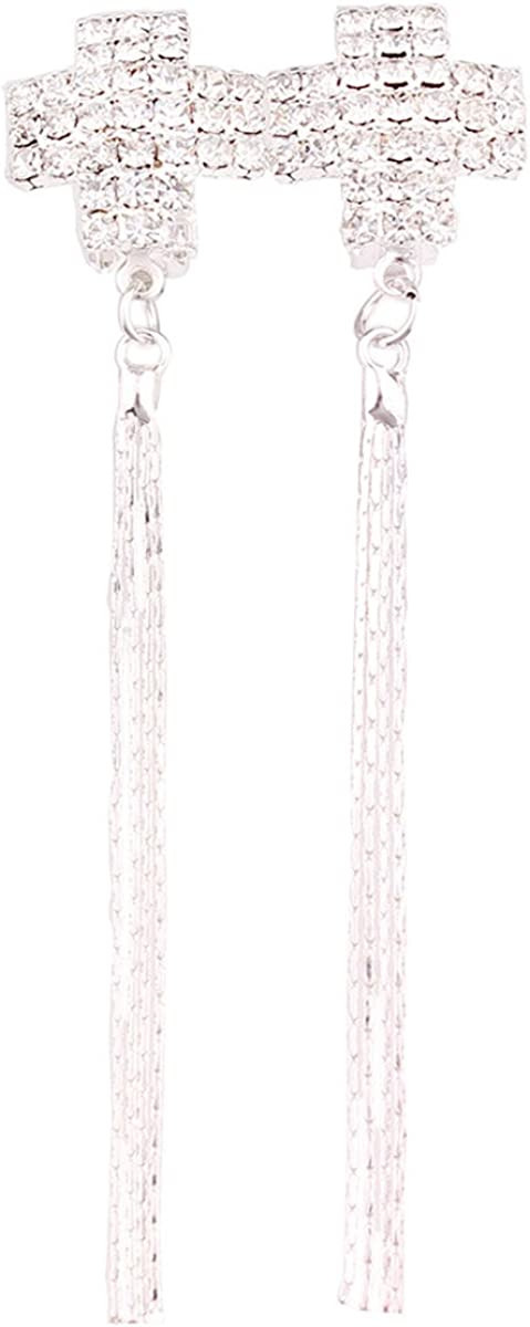 Grace Jun We OFFer discount at cheap prices Silver Plated Long Tassel Shape Cross Earrings Clip on