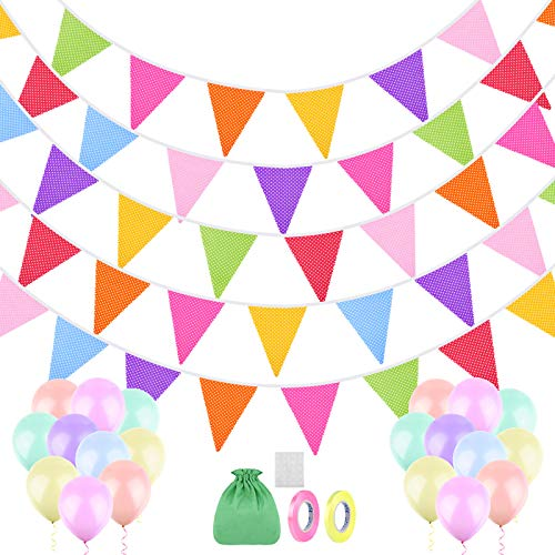 ADXCO 48 Pieces Spotted Fabric Flag Banner Garlands 45.9 Feet Colorful Cotton Hanging Pennant Flags Fabric Bunting Banner with 20 Balloons for Birthday Parties Garden Wedding