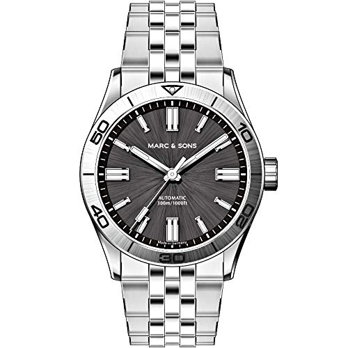 MARC & SONS Unisex Armbanduhr Automatik ETA 2824-2, Saphirglas, Sonnenschliff, BGW9