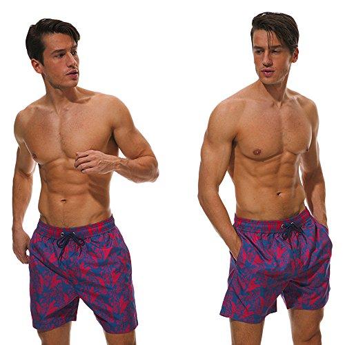 Lemooner Herren Fisch Druck Badehose Regular Fit Männer Bermuda Kurze Hose Mit Kordel Badeshorts Schnell Trocknend Strandhose Hawaii Shorts Boxershorts Sporthose