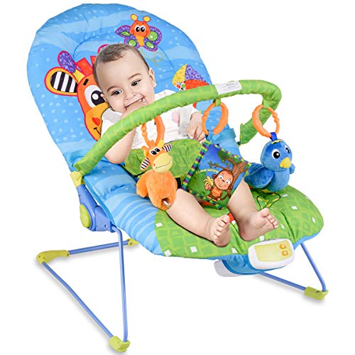 RELAX4LIFE Babywippe Musik mit Vibrationsfunktion, Schaukelwippe mit verstellbarer Rückenlehne, inkl. 3 niedliche Spielzeuge, Babyschaukel mit abnehmbarer Armlehne für Kinder-, Wohnzimmer (Giraffe)