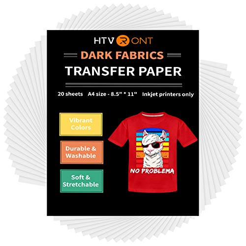 """HTVRONT Heat Transfer Paper for T Shirts 20 Sheets, 8.5"""" X 11"""" Printable Heat Transfer Vinyl, Vivid Color & Durable Iron on Transfer Paper for Dark Fabric"""