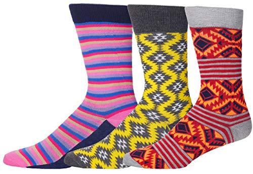 Men's Colorful Funky Patterned Dress Socks - Pink Purple Striped Socks for Men, Aztec Red Orange Socks for Men, Yellow Dress Socks for Men