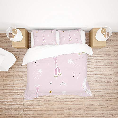 Juego de ropa de cama de tamaño doble, diseño de zapatos de ballet, color rosa, funda de edredón suave con 1 funda de edredón y 2 fundas de almohada, regalos para niñas y adolescentes (sin edredón)