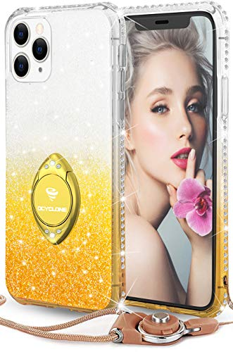 OCYCLONE Hülle Kompatibel mit iPhone 11 Pro Max, Glitzer TPU Silikon Handyhülle mit Ring Ständer, Diamant halb-transparent iPhone 11 Pro Max Schutzhülle - Champagner Gold