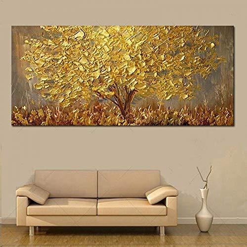 Gbwzz Dipinto a Mano Coltello Pittura ad Olio Albero d'oro su Tela Grande tavolozza Dipinti 3D per Soggiorno Quadri Astratti Moderni,60x120cm