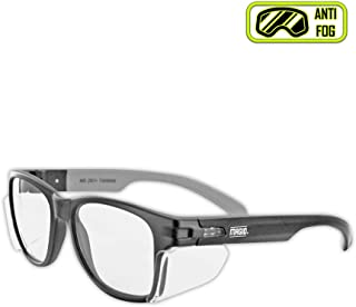 MAGID Y50BKAFC Iconic Y50 Design Series Safety Glasses with Side Shields   ANSI Z87+ Performance, Scratch & Fog Resistant, Comfortable & Stylish, Cloth Case Included, Clear Lens (1 Pair)