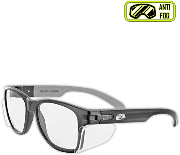 MAGID Y50BKAFC Iconic Y50 Design Series Safety Glasses With Side Shields ANSI Z87 Performance Scratch Fog Resistant Comfortable Stylish Cloth Case Included Clear Lens 1 Pair