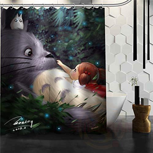 ZYJCC Duschvorhang Cartoon Anime Totoro Duschvorhang Klassisches Muster Benutzerdefinierte Badezimmer Vorhang Stoff Polyester schöne Gardinen