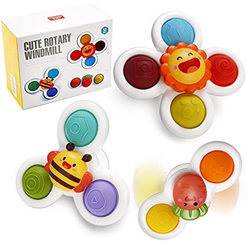 Suction Cup Spinner Toys, Strong Suction Cup Bath Toys, Spinning Dimple Fidget Toy, Sensory Toys for...