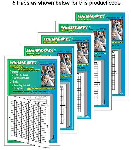 """MiniPLOT adhesive backed Graph Paper for Algebra: Five count - 3"""" x 3"""" pads - X Y axis coordinate grid templates printed on Post-It pads. 50 graphs per pad. Grid = 20x20 units. Use for homework!"""
