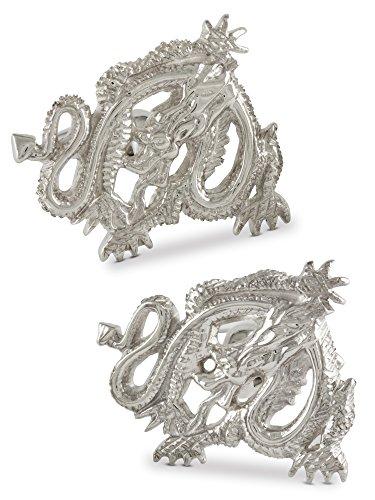 Boutons de manchette homme, Le dragon chinois, Argent 925, Faits mains