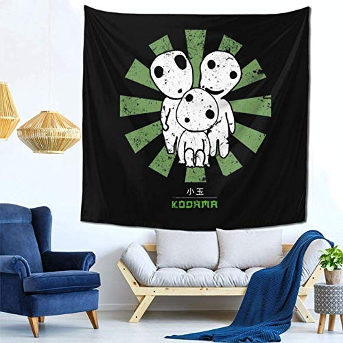 LuoYangShiLaoChengQuTianYuGangCaiXiaoShouBu Kodama Retro Japanese Wall Hanging Tapestry for Living Room and Bedroom Spreads Good Vibes 59×59 Inches